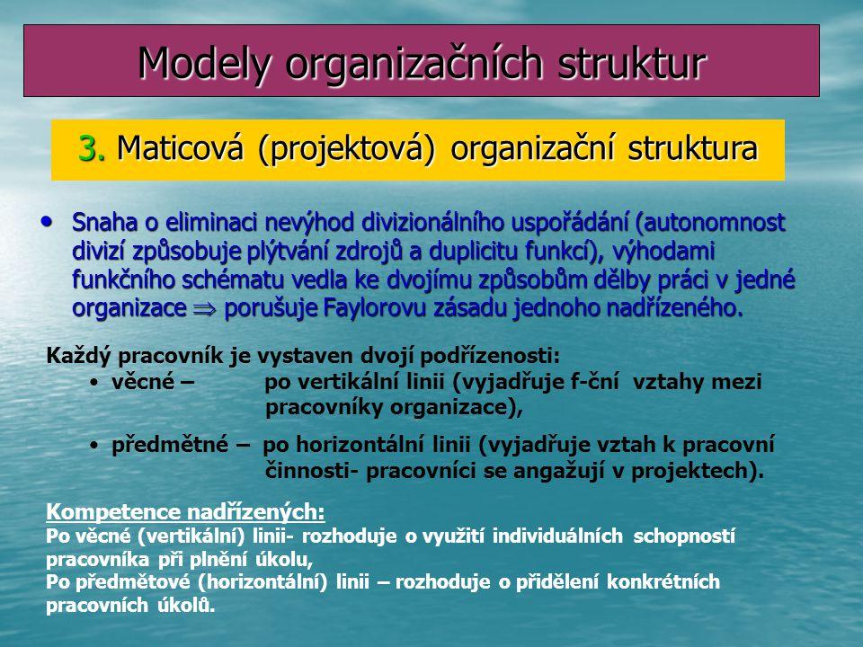 Divizní (předmětová) organizační struktura Divize vznikají seskupení organizačních útvarů podle tří hledisek: Výrobně-technologického, obchodně-politi