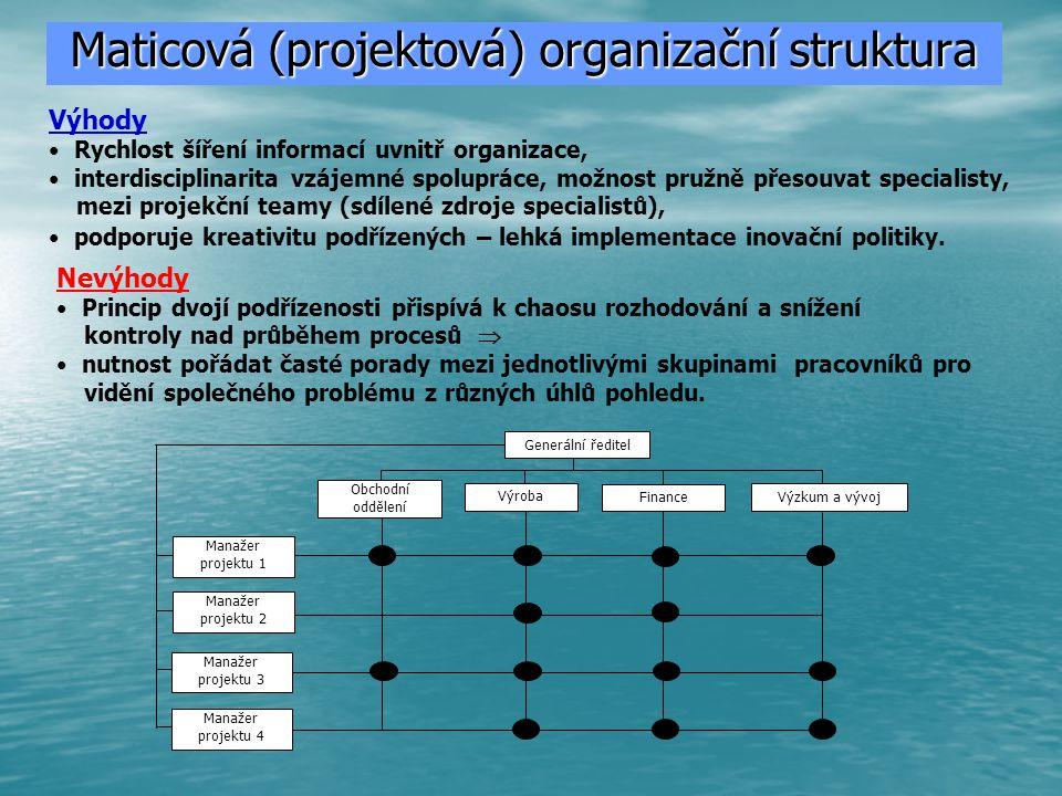 Snaha o eliminaci nevýhod divizionálního uspořádání (autonomnost divizí způsobuje plýtvání zdrojů a duplicitu funkcí), výhodami funkčního schématu vedla ke dvojímu způsobům dělby práci v jedné organizace  porušuje Faylorovu zásadu jednoho nadřízeného.