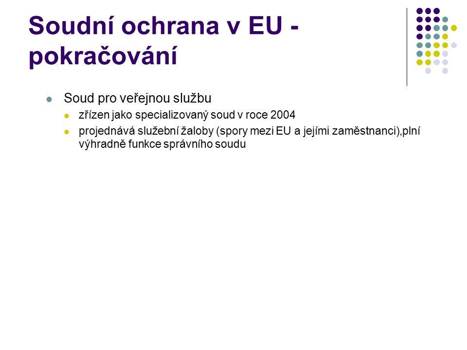 Soudní ochrana v EU - pokračování Soud pro veřejnou službu zřízen jako specializovaný soud v roce 2004 projednává služební žaloby (spory mezi EU a jej
