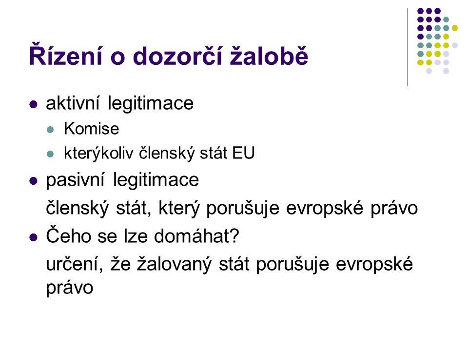 Řízení o dozorčí žalobě aktivní legitimace Komise kterýkoliv členský stát EU pasivní legitimace členský stát, který porušuje evropské právo Čeho se lz