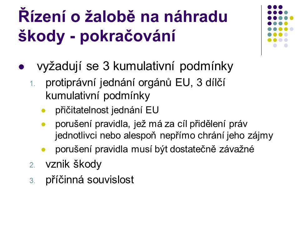 Řízení o žalobě na náhradu škody - pokračování vyžadují se 3 kumulativní podmínky 1. protiprávní jednání orgánů EU, 3 dílčí kumulativní podmínky přiči