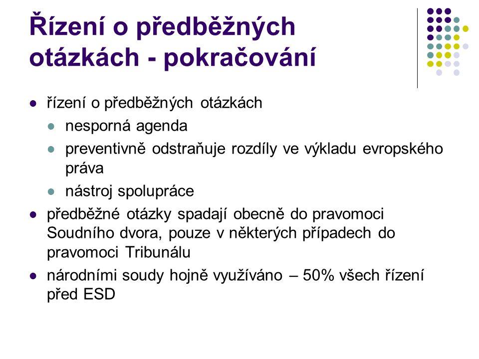 Řízení o předběžných otázkách - pokračování řízení o předběžných otázkách nesporná agenda preventivně odstraňuje rozdíly ve výkladu evropského práva n