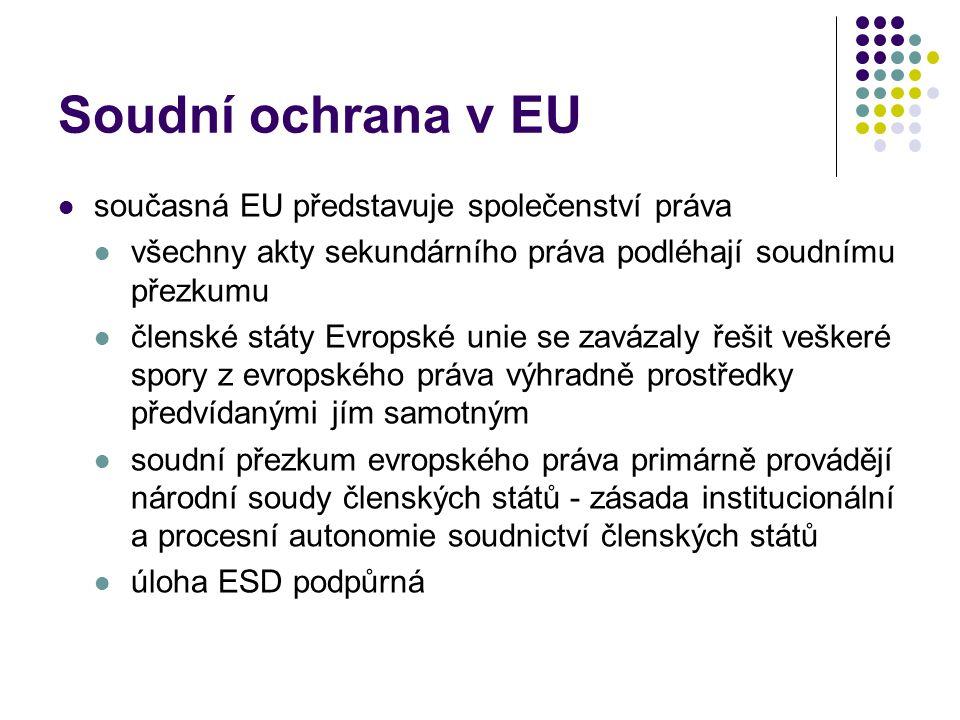 Soudní ochrana v EU současná EU představuje společenství práva všechny akty sekundárního práva podléhají soudnímu přezkumu členské státy Evropské unie