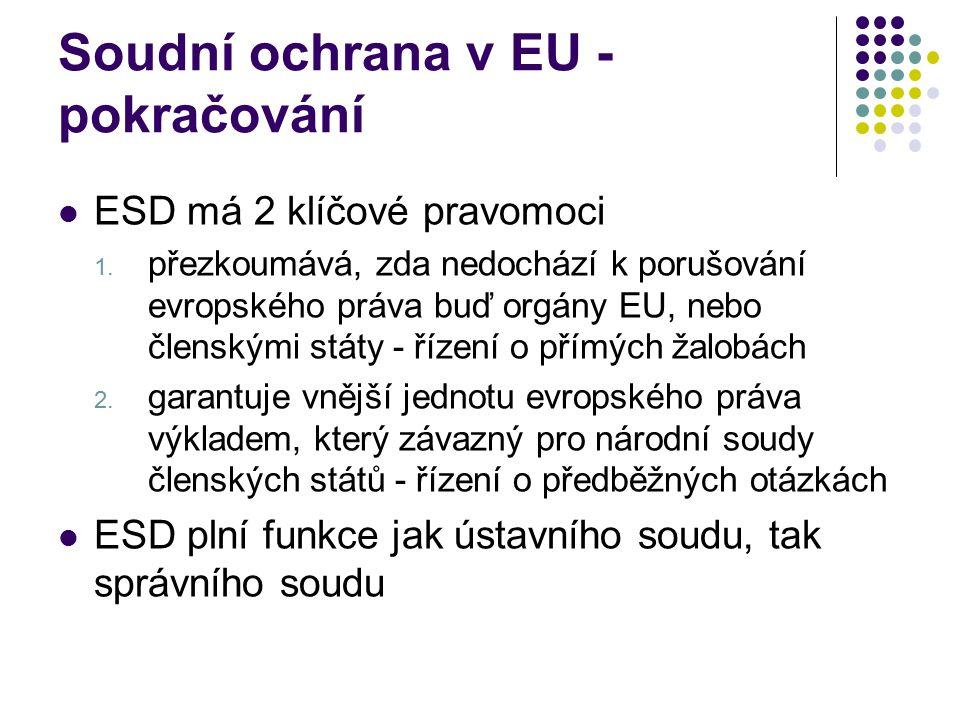 Soudní ochrana v EU - pokračování ESD má 2 klíčové pravomoci 1. přezkoumává, zda nedochází k porušování evropského práva buď orgány EU, nebo členskými