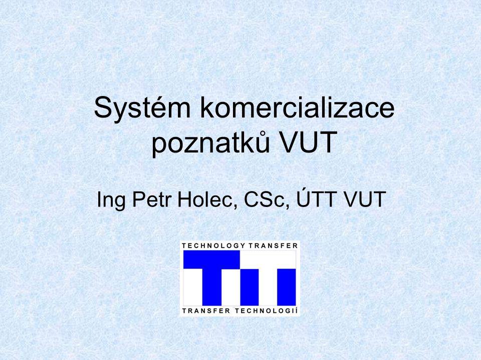 Systém komercializace poznatků VUT Ing Petr Holec, CSc, ÚTT VUT