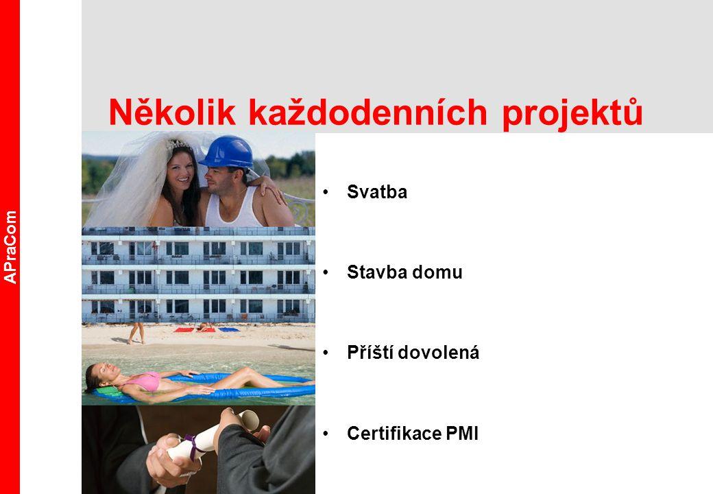 Několik každodenních projektů Svatba Stavba domu Příští dovolená Certifikace PMI APraCom
