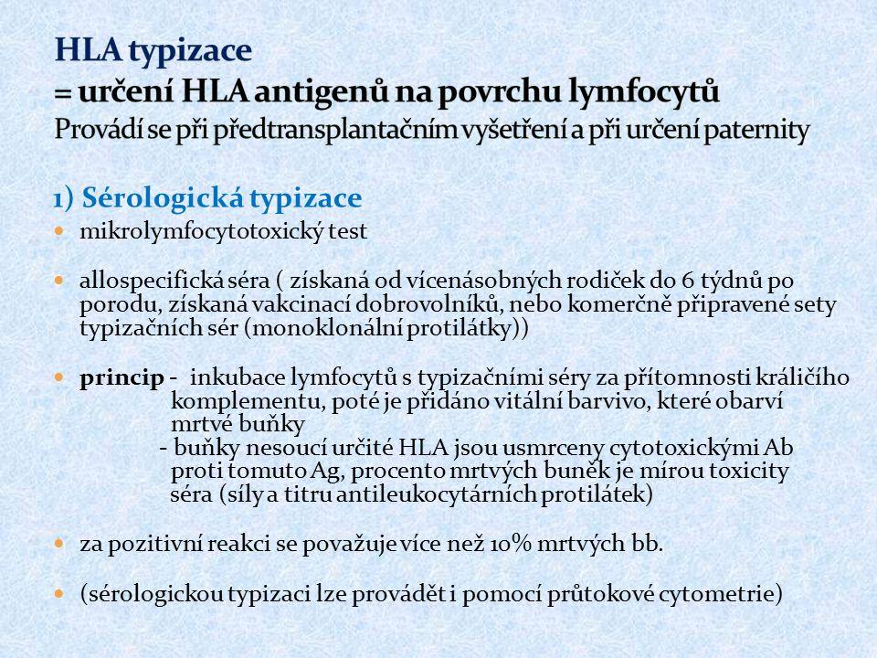 1) Sérologická typizace mikrolymfocytotoxický test allospecifická séra ( získaná od vícenásobných rodiček do 6 týdnů po porodu, získaná vakcinací dobr