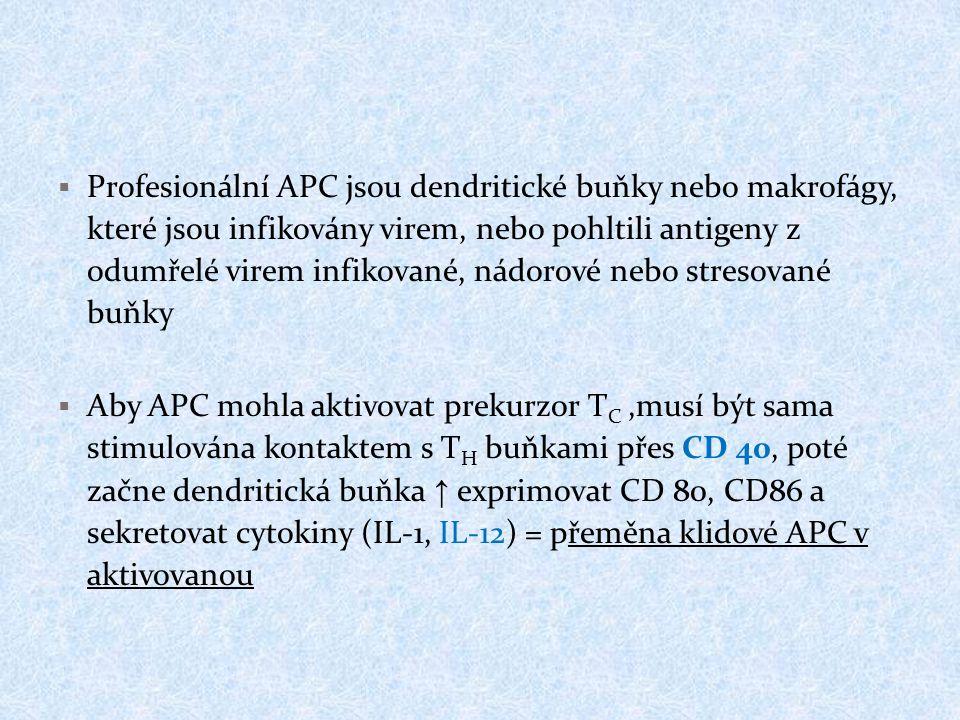  Profesionální APC jsou dendritické buňky nebo makrofágy, které jsou infikovány virem, nebo pohltili antigeny z odumřelé virem infikované, nádorové n