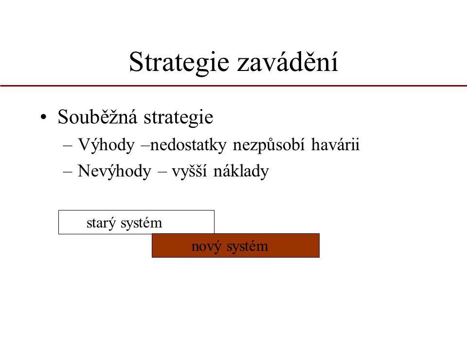 Strategie zavádění Souběžná strategie –Výhody –nedostatky nezpůsobí havárii –Nevýhody – vyšší náklady starý systém nový systém