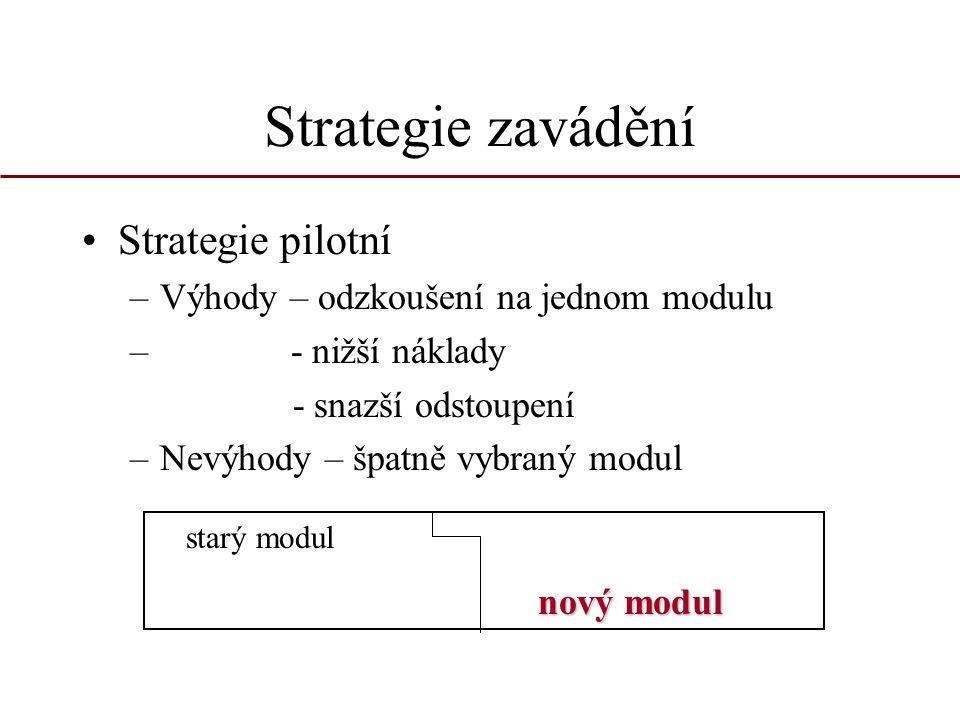 Strategie zavádění Strategie pilotní –Výhody – odzkoušení na jednom modulu – - nižší náklady - snazší odstoupení –Nevýhody – špatně vybraný modul star