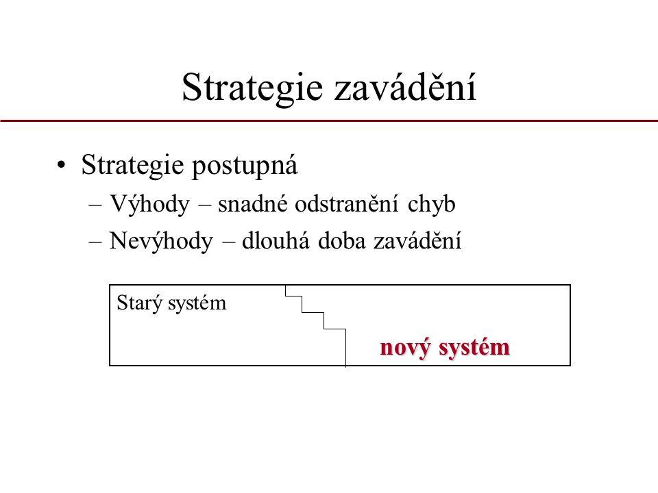 Strategie zavádění Strategie postupná –Výhody – snadné odstranění chyb –Nevýhody – dlouhá doba zavádění Starý systém nový systém