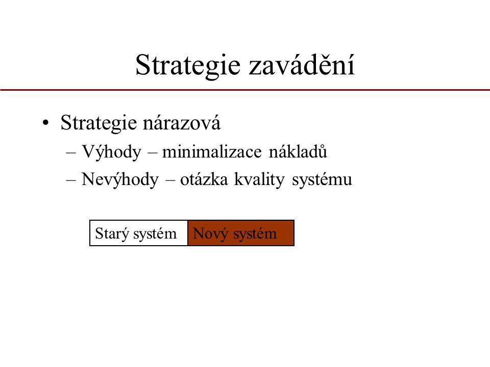 Strategie zavádění Strategie nárazová –Výhody – minimalizace nákladů –Nevýhody – otázka kvality systému Starý systémNový systém