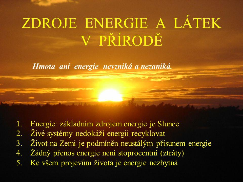 ZDROJE ENERGIE A LÁTEK V PŘÍRODĚ Hmota ani energie nevzniká a nezaniká.