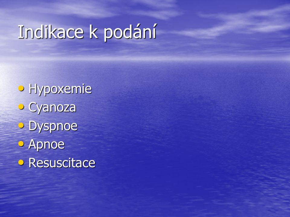 Indikace k podání Hypoxemie Hypoxemie Cyanoza Cyanoza Dyspnoe Dyspnoe Apnoe Apnoe Resuscitace Resuscitace