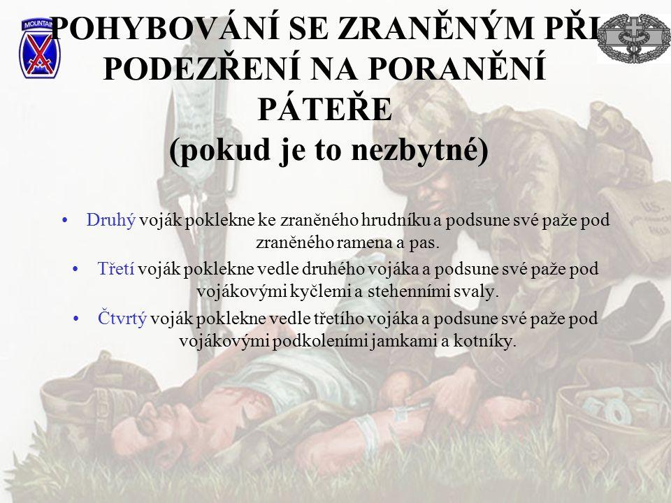 POHYBOVÁNÍ SE ZRANĚNÝM PŘI PODEZŘENÍ NA PORANĚNÍ PÁTEŘE (pokud je to nezbytné) Druhý voják poklekne ke zraněného hrudníku a podsune své paže pod zraně