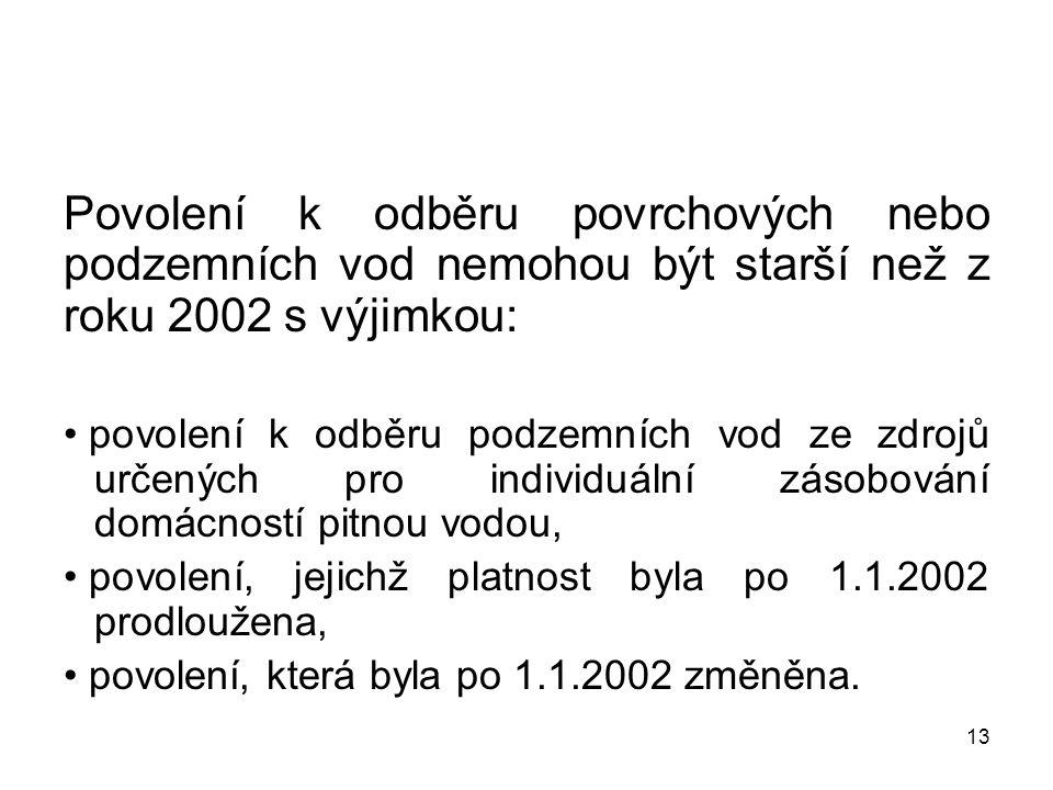 13 Povolení k odběru povrchových nebo podzemních vod nemohou být starší než z roku 2002 s výjimkou: povolení k odběru podzemních vod ze zdrojů určenýc