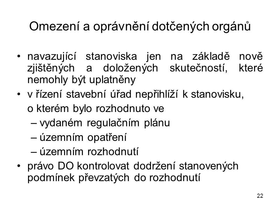 22 Omezení a oprávnění dotčených orgánů navazující stanoviska jen na základě nově zjištěných a doložených skutečností, které nemohly být uplatněny v ř