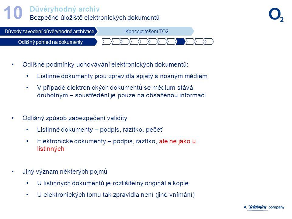 Důvěryhodný archív Bezpečné úložiště elektronických dokumentů 10 Důvody zavedení důvěryhodné archivaceKoncept řešení TO2 Odlišný pohled na dokumenty O