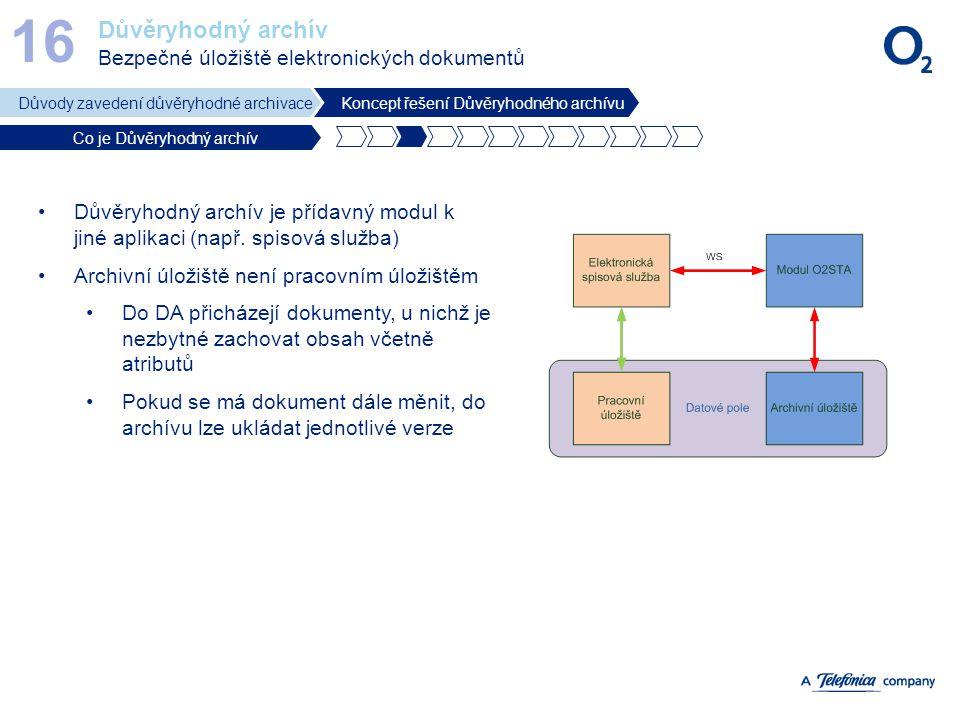 Důvěryhodný archív Bezpečné úložiště elektronických dokumentů 16 Důvody zavedení důvěryhodné archivaceKoncept řešení Důvěryhodného archívu Co je Důvěr