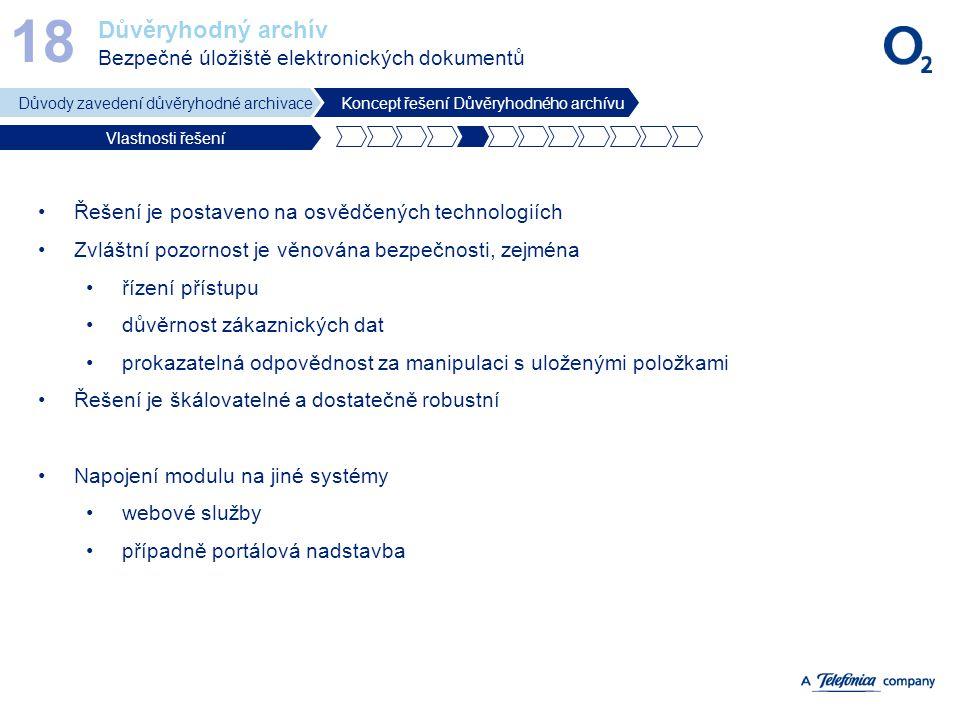 Důvěryhodný archív Bezpečné úložiště elektronických dokumentů 18 Důvody zavedení důvěryhodné archivaceKoncept řešení Důvěryhodného archívu Vlastnosti