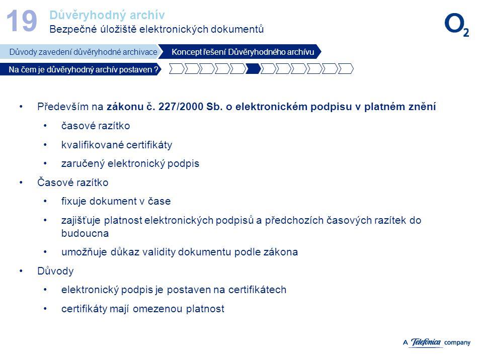 Důvěryhodný archív Bezpečné úložiště elektronických dokumentů 19 Důvody zavedení důvěryhodné archivaceKoncept řešení Důvěryhodného archívu Na čem je d