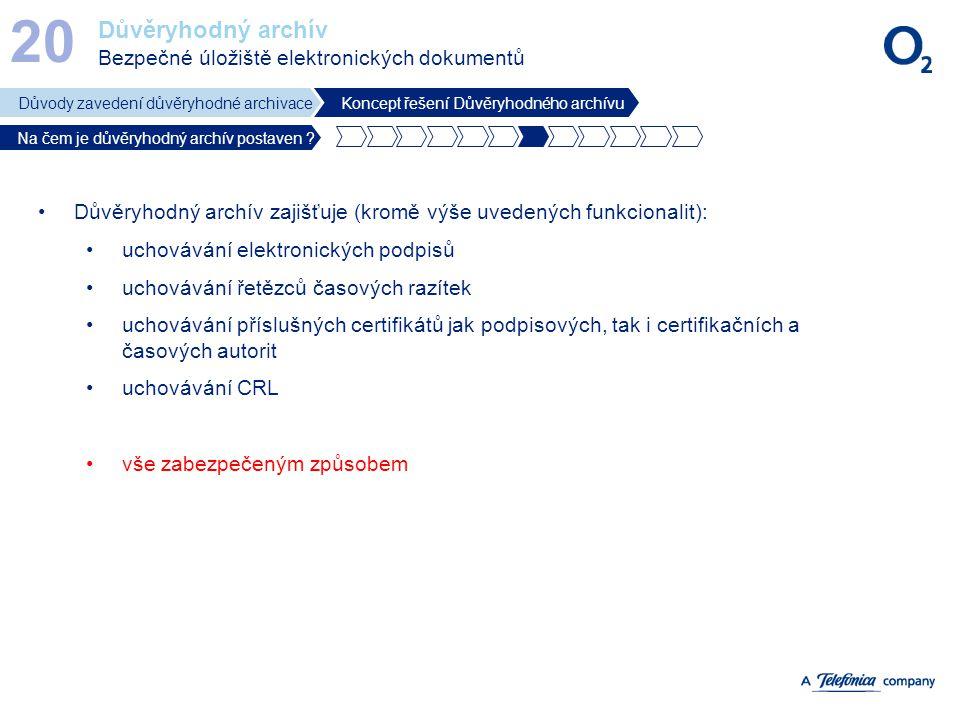 Důvěryhodný archív Bezpečné úložiště elektronických dokumentů 20 Důvody zavedení důvěryhodné archivaceKoncept řešení Důvěryhodného archívu Na čem je d