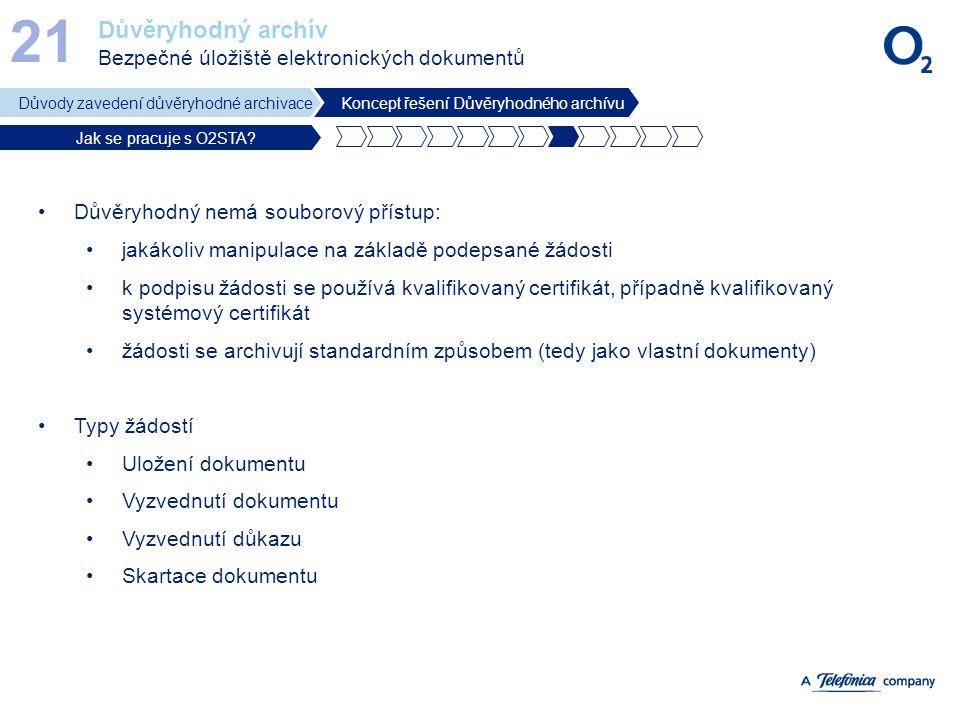 Důvěryhodný archív Bezpečné úložiště elektronických dokumentů 21 Důvody zavedení důvěryhodné archivaceKoncept řešení Důvěryhodného archívu Jak se prac