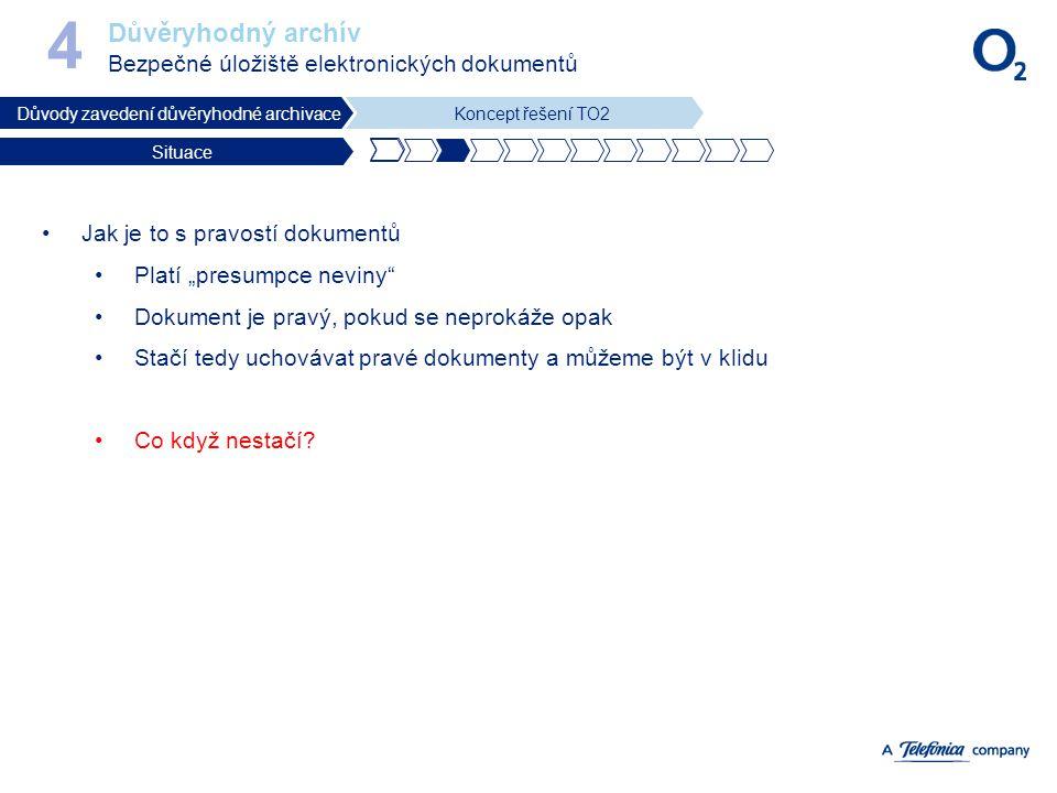 Důvěryhodný archív Bezpečné úložiště elektronických dokumentů 4 Důvody zavedení důvěryhodné archivaceKoncept řešení TO2 Situace Jak je to s pravostí d