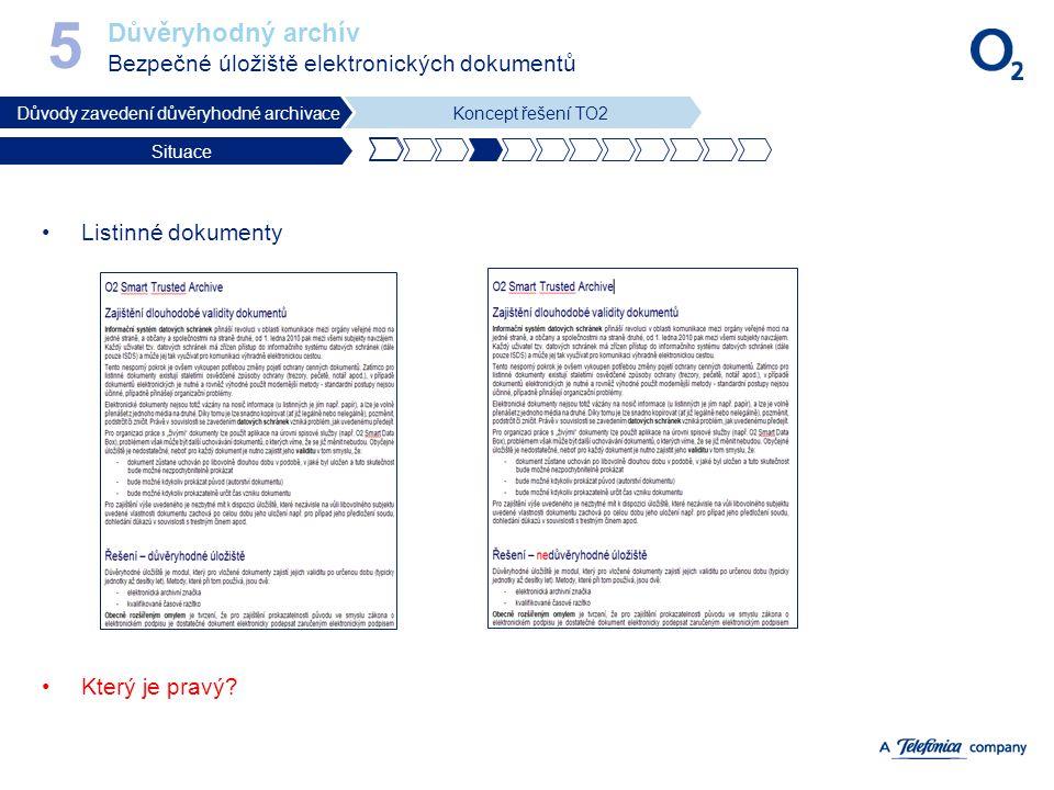Důvěryhodný archív Bezpečné úložiště elektronických dokumentů 5 Důvody zavedení důvěryhodné archivaceKoncept řešení TO2 Situace Listinné dokumenty Kte