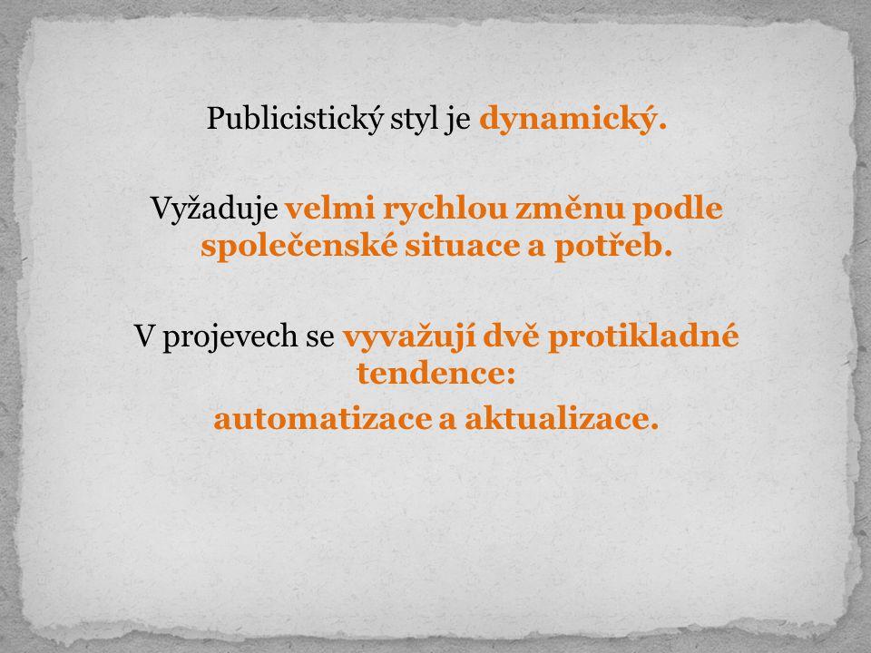 Publicistický styl je dynamický. Vyžaduje velmi rychlou změnu podle společenské situace a potřeb.