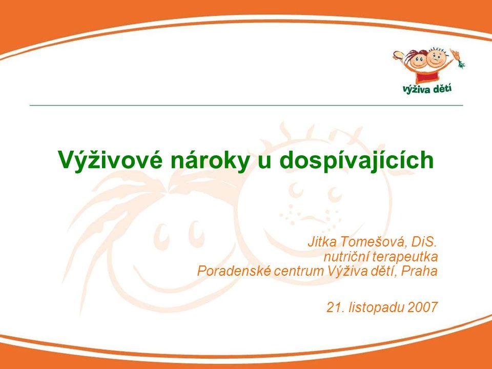 Jitka Tomešová, DiS. nutriční terapeutka Poradenské centrum Výživa dětí, Praha 21. listopadu 2007 Výživové nároky u dospívajících