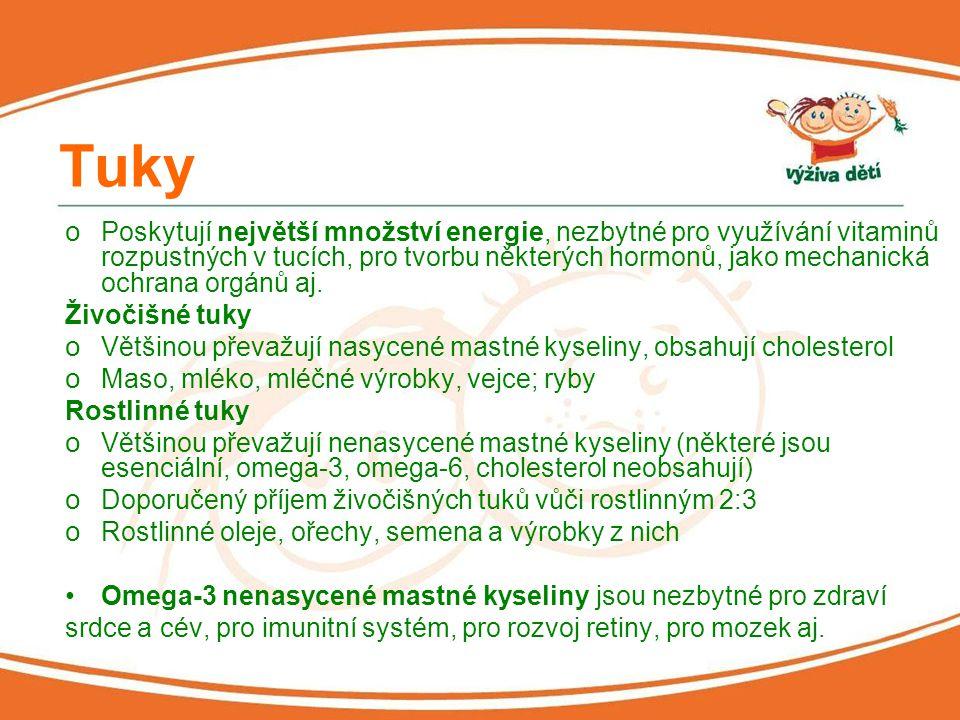 Vitaminy Vitamin A o V rybím tuku, v játrech, vaječném žloutku o Nedostatek – zdrsněná pokožka, možné zpomalení růstu, šeroslepost Vitamin D o V rybím tuku, rostlinných tucích, vejcích o Nedostatek – zvyšuje riziko osteoporózy v pozdějším věku, nervozita, svalová slabost Vitamin E o Rostlinné oleje, semena, ořechy o Nedostatek – špatné hojení ran, suchá pokožka, snadná vyčerpanost po sportovním výkonu, únava aj.