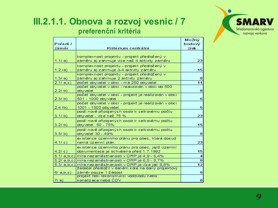 9 III.2.1.1. Obnova a rozvoj vesnic / 7 preferenční kritéria