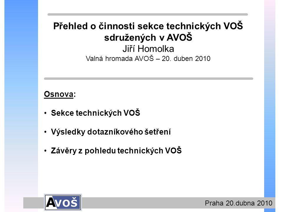 Praha 20.dubna 2010 Sekce technických VOŠ Od minulé Valné hromady AVOŠ se uskutečnilo několik vzájemných výměn informací a proběhlo (velmi úspěšně) dotazníkové šetření o uplatnitelnosti absolventů této skupiny VOŠ.