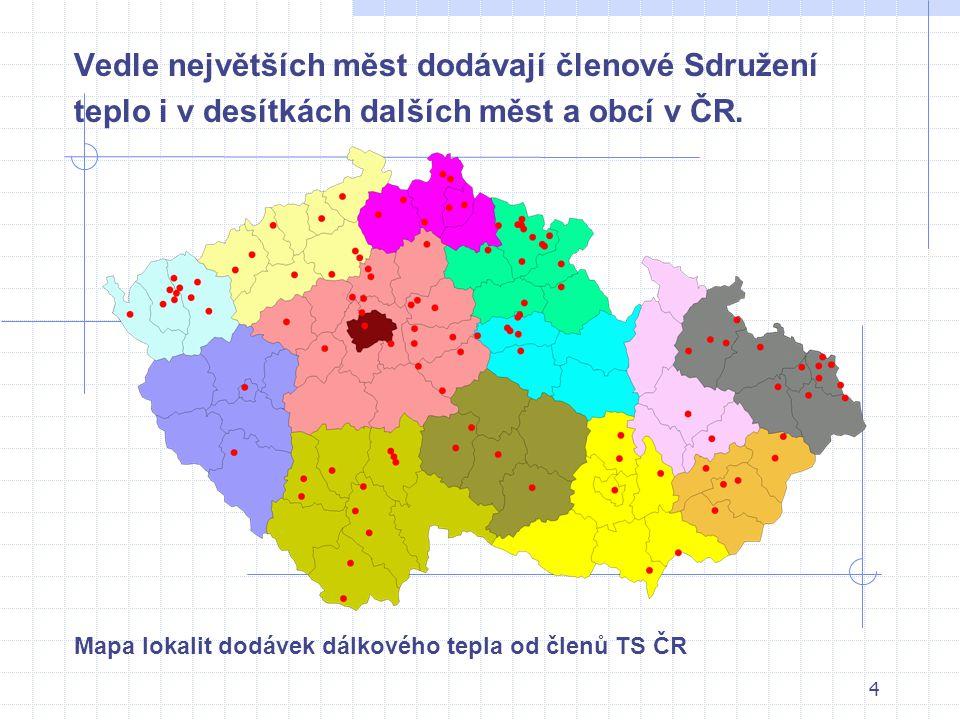 4 Vedle největších měst dodávají členové Sdružení teplo i v desítkách dalších měst a obcí v ČR. Mapa lokalit dodávek dálkového tepla od členů TS ČR