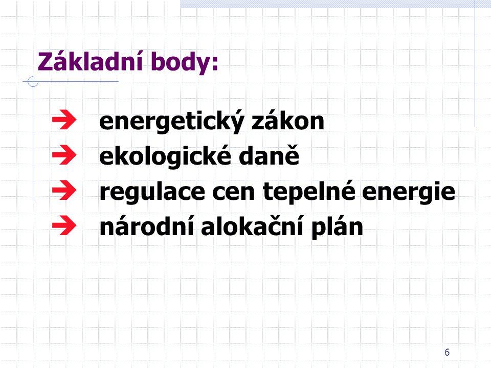 6 Základní body:  energetický zákon  ekologické daně  regulace cen tepelné energie  národní alokační plán