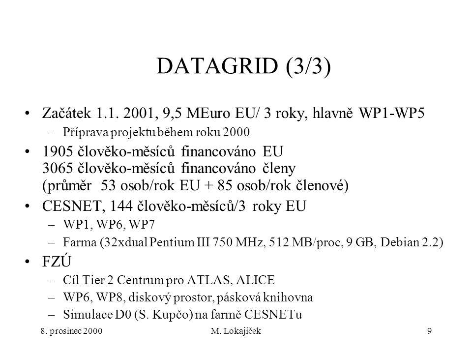 8. prosinec 2000M. Lokajíček9 DATAGRID (3/3) Začátek 1.1.