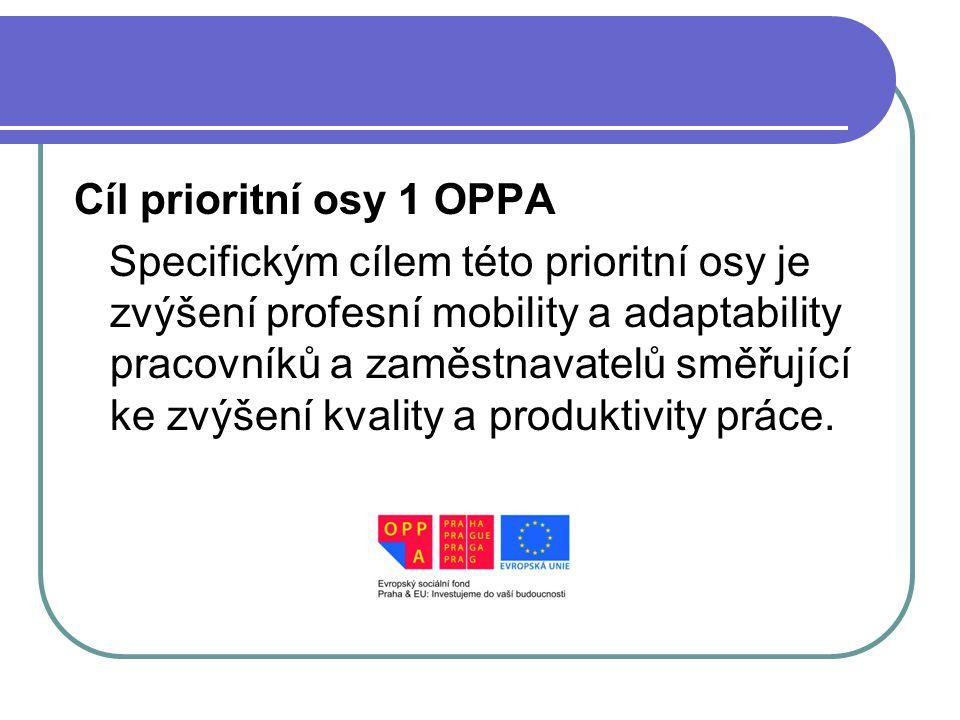 Cíl prioritní osy 1 OPPA Specifickým cílem této prioritní osy je zvýšení profesní mobility a adaptability pracovníků a zaměstnavatelů směřující ke zvýšení kvality a produktivity práce.
