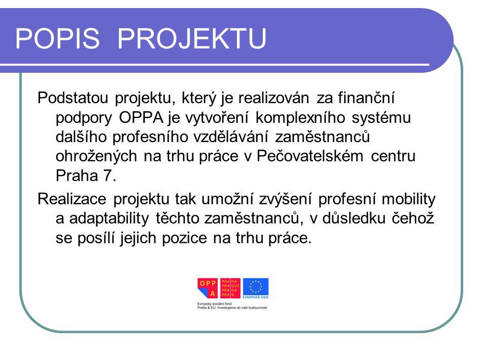 POPIS PROJEKTU Podstatou projektu, který je realizován za finanční podpory OPPA je vytvoření komplexního systému dalšího profesního vzdělávání zaměstnanců ohrožených na trhu práce v Pečovatelském centru Praha 7.