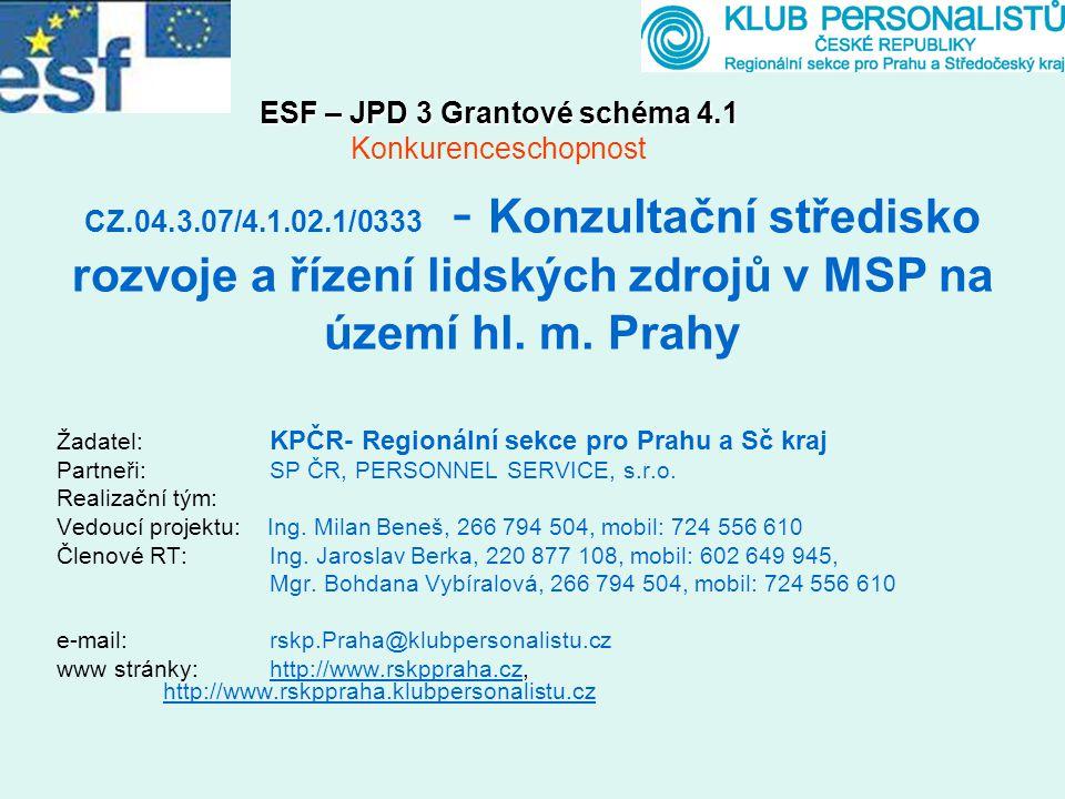 CZ.04.3.07/4.1.02.1/0333 - Konzultační středisko rozvoje a řízení lidských zdrojů v MSP na území hl. m. Prahy Žadatel: KPČR- Regionální sekce pro Prah