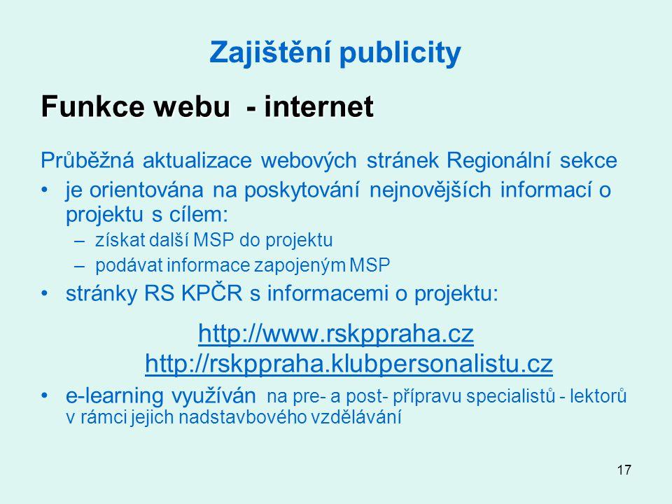17 Zajištění publicity Funkce webu - internet Průběžná aktualizace webových stránek Regionální sekce je orientována na poskytování nejnovějších informací o projektu s cílem: –získat další MSP do projektu –podávat informace zapojeným MSP stránky RS KPČR s informacemi o projektu: http://www.rskppraha.cz http://rskppraha.klubpersonalistu.cz e-learning využíván na pre- a post- přípravu specialistů - lektorů v rámci jejich nadstavbového vzdělávání