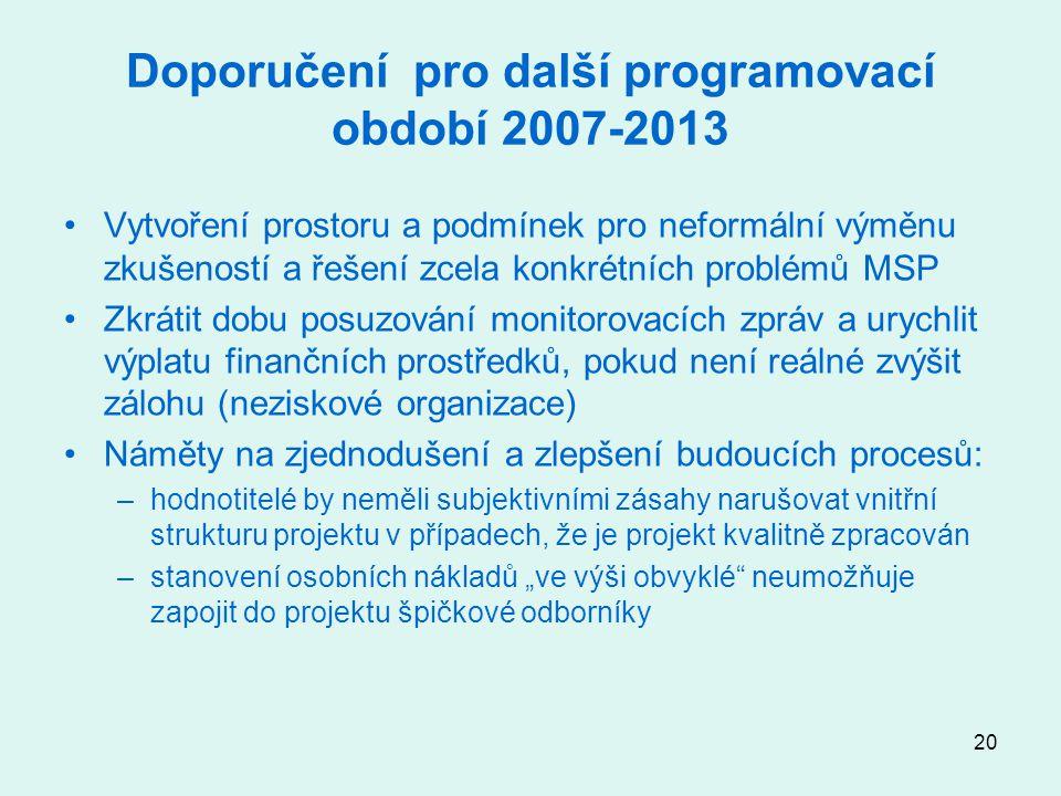 """20 Doporučení pro další programovací období 2007-2013 Vytvoření prostoru a podmínek pro neformální výměnu zkušeností a řešení zcela konkrétních problémů MSP Zkrátit dobu posuzování monitorovacích zpráv a urychlit výplatu finančních prostředků, pokud není reálné zvýšit zálohu (neziskové organizace) Náměty na zjednodušení a zlepšení budoucích procesů: –hodnotitelé by neměli subjektivními zásahy narušovat vnitřní strukturu projektu v případech, že je projekt kvalitně zpracován –stanovení osobních nákladů """"ve výši obvyklé neumožňuje zapojit do projektu špičkové odborníky"""