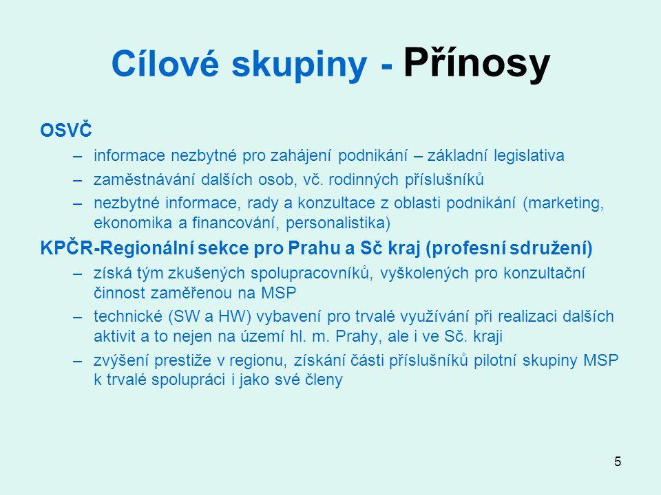 6 Cílové skupiny - Zapojení Zapojení MSP + KPČR –pilotní vzorek MSP získán již ve fázi přípravy projektu –část MSP a OSVČ získána z členů KPČR –podstatná část cílové skupiny získána po oslovení e-mailovou poštou, speciálním Zpravodajem RSKP, případně dalšími propagačními kampaněmi (na začátku i v průběhu řešení projektu) –spolupráce se SP ČR (letáky, články ve Spektrum SP) Další formy získávání MSP k zapojení: informační letáky, www stránky KPČR-RS, rozesílání Zpravodaje a Zpravodaje-Speciál na více než 1000 adres firem, placená inzerce, odborný tisk (Kariéra HN, Personál), osobní styk Doprovodná opatření: občerstvení při polodenních skupinových konzultacích, případně materiály pro předem vyžádané konzultace