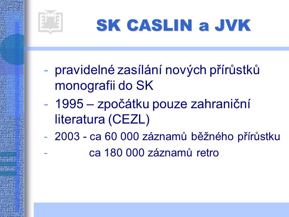 SK CASLIN a JVK -pravidelné zasílání nových přírůstků monografii do SK -1995 – zpočátku pouze zahraniční literatura (CEZL) -2003 - ca 60 000 záznamů běžného přírůstku - ca 180 000 záznamů retro