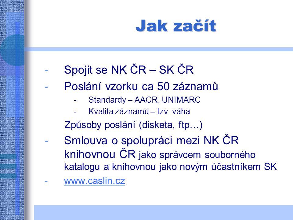 Jak začít -Spojit se NK ČR – SK ČR -Poslání vzorku ca 50 záznamů -Standardy – AACR, UNIMARC -Kvalita záznamů – tzv.