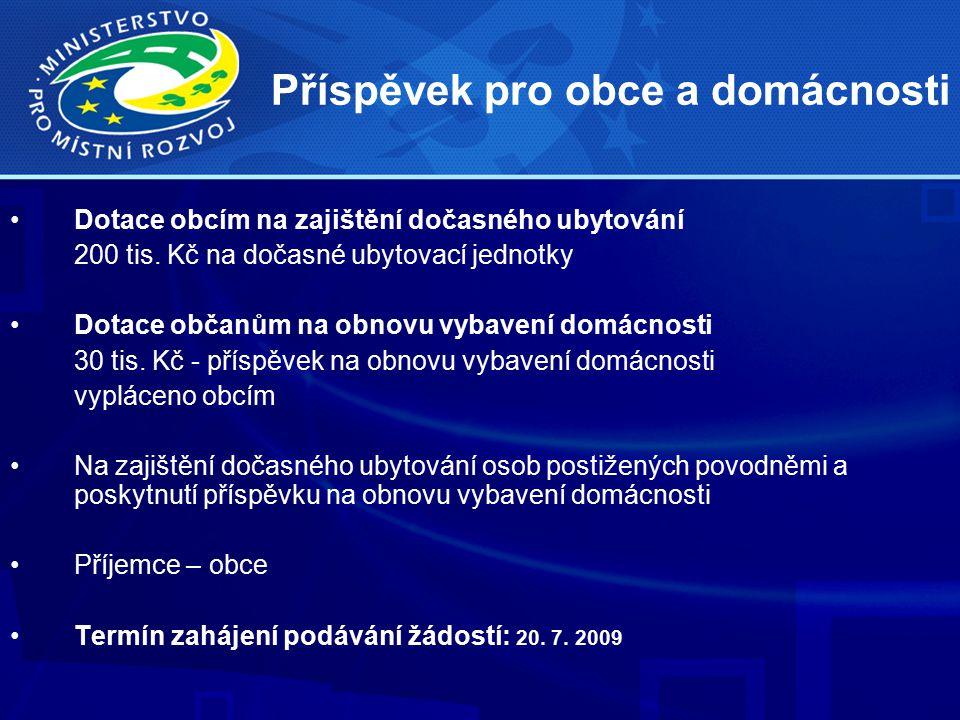 Příspěvek pro obce a domácnosti Dotace obcím na zajištění dočasného ubytování 200 tis.