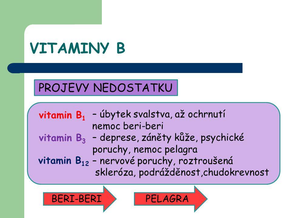 VITAMINY B PROJEVY NEDOSTATKU – úbytek svalstva, až ochrnutí nemoc beri-beri – deprese, záněty kůže, psychické poruchy, nemoc pelagra – nervové poruchy, roztroušená skleróza, podrážděnost,chudokrevnost BERI-BERIPELAGRA vitamin B 1 vitamin B 3 vitamin B 12
