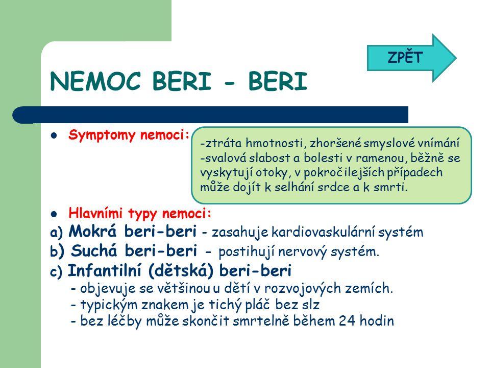 NEMOC BERI - BERI Symptomy nemoci: Hlavními typy nemoci: a) Mokrá beri-beri - zasahuje kardiovaskulární systém b ) Suchá beri-beri - postihují nervový systém.