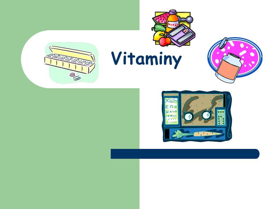 Charakteristika vitaminů složité látky rostlinného původu součást potravy živočichů a člověka biokatalyzátory chemických reakcí v organismech (usnadňují chemické reakce v buňkách organismů) v potravě: přímo daný vitamin provitamin (v těle se díky enzymům na vitamin přemění)