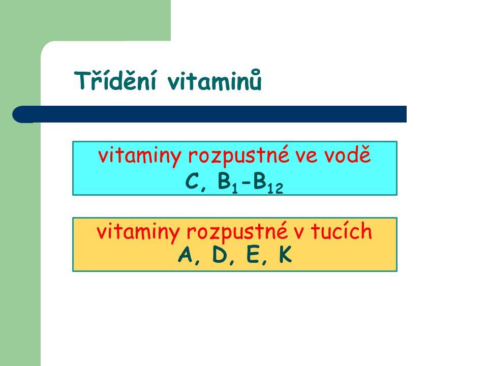 Třídění vitaminů vitaminy rozpustné ve vodě C, B 1 -B 12 vitaminy rozpustné v tucích A, D, E, K